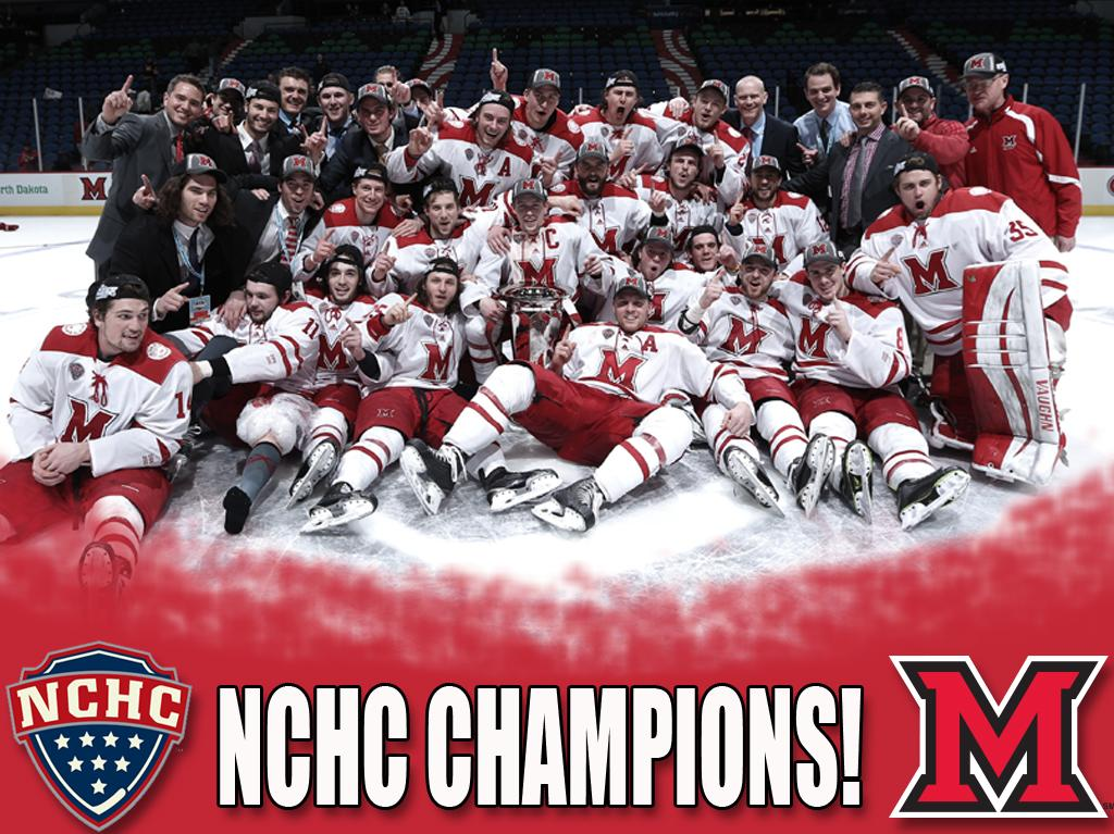 Has a ring to it. @MiamiOH_Hockey are 2015 NCHC Tournament Champions! http://t.co/68R2lN7Cw3