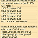 http://t.co/OVg3YjnjlP RT FollowerJasafo: Jual Followers Twitter Real Human. Harga ada di gambar Minat? Pin :5549702C http://t.co/Xqm5yBNm2H
