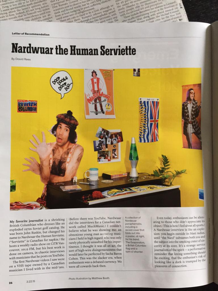 Nice to see @nardwuar in this morning's @NYTmag http://t.co/Lj5DeALo4B