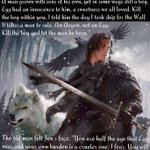 """Kill the boy, Jon Snow. Winter is almost upon us. Kill the boy & let the man be born.""  -Aemon #GoTSeason5 #episode5 http://t.co/R24cQSzwBr"