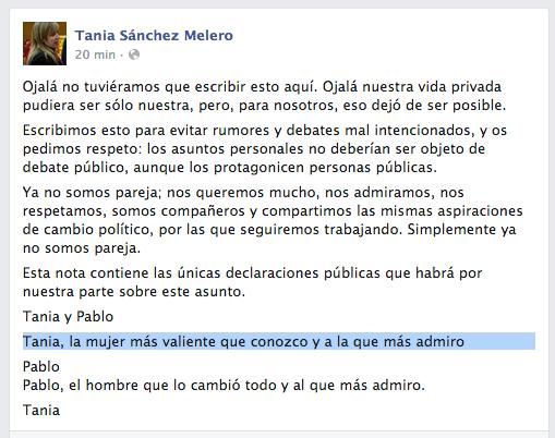 ESPERAD UN MOMENTO QUE LA NOCHE NO HA ACABADO: Tania y Pablo han roto (lo cuenta ella en FB) https://t.co/d97aXt1VUy http://t.co/aqXxNU9wsS