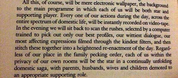 Don't believe the hyperreality. JG Ballard, 1977... http://t.co/EPPUIMSiew
