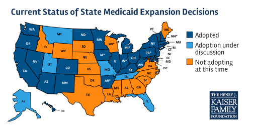 MAP: Where states stand on #Medicaid expansion as of today -- the #ACA's 5th anniversary http://t.co/LRoEXiLEn8 http://t.co/DET6lNWKaE