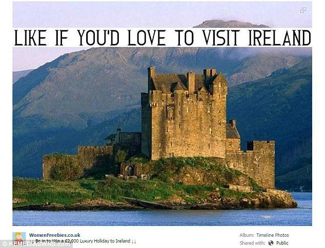 Holiday advert for Ireland uses picture of Scotland's iconic Eilean Donan castle