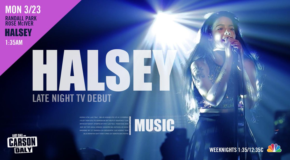 @halseymusic fans: Friendly reminder that she makes her late night TV debut tonight on Last Call w/ @CarsonDaly. http://t.co/Ip98VuJSlo