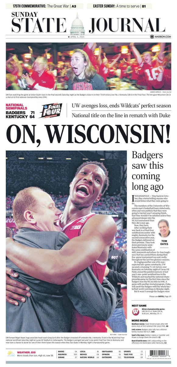 Today's @WiStateJournal front page and Sports cover. #Badgers #OnWisconsin #MakeEmBelieve http://t.co/JhgoHmJoAc