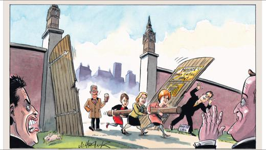 Cartoon in today's Independent on Sunday shows female Leaders' including @LeanneWood 'breaking through ' http://t.co/QHZR73to9y