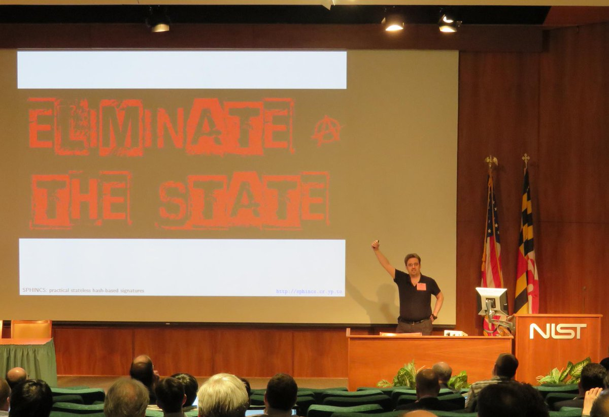 "Success in displaying ""ELIMINATE THE STATE"" next to American flag at official NIST workshop. http://t.co/nBL5Tpo1ix http://t.co/Hx4EVKc8Ml"