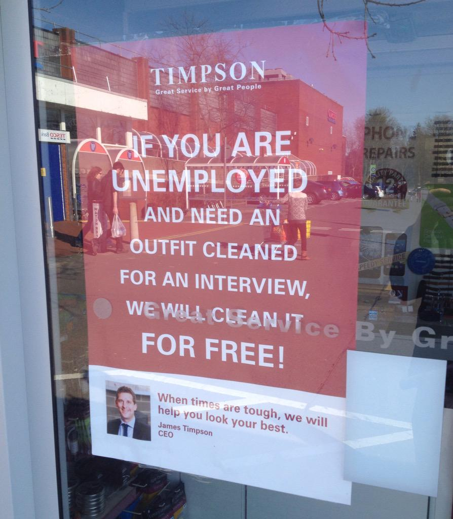 I like Timpson for doing this for unemployed people. http://t.co/JcrOiWjUys