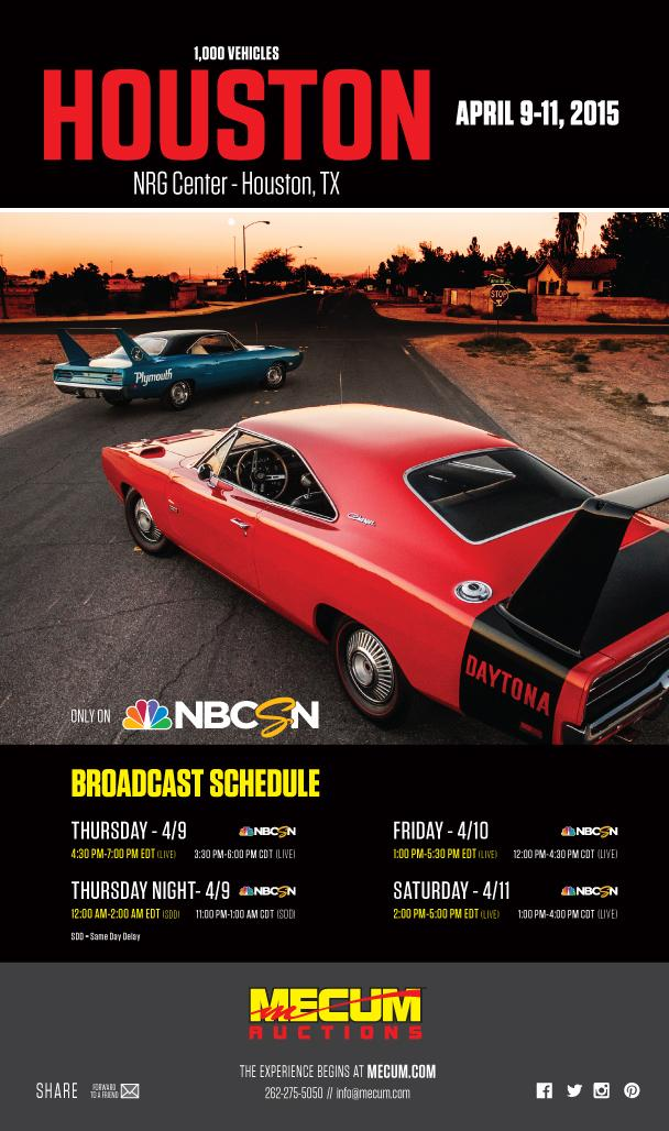 mecum #houston 2015 @nbcsn broadcast schedule! @carkraman ...