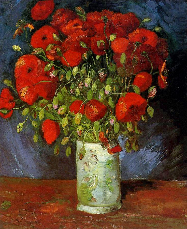 Vincent van Gogh, Vase with Red Poppies 1886, Wadsworth Atheneum, Hartford http://t.co/5J1cR6C3Rt