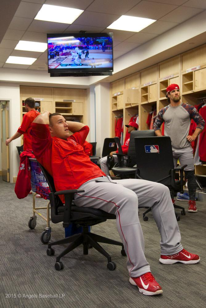 With #OpeningDay in the books we are sure some of our #Angels are #focused on the final moments of college basketball http://t.co/deSQDg7zI5