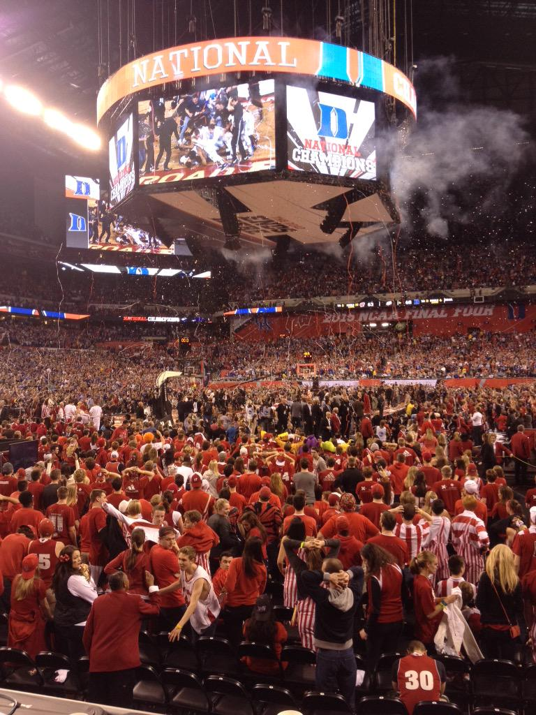 NATIONAL CHAMPS: Duke beats Wisconsin 68-63 for fifth national title. http://t.co/YzR8g7Fb4g