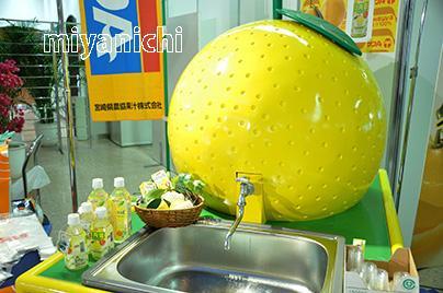 宮崎県の蛇口からは日向夏ミカンジュースが流れる!?宮崎空港で10日まで開催中の「春のうまいもん市」に、県農協果汁が楽しいタンクを設置しました。タンクは今後、県内各地に現れる予定だそうです。http://t.co/uqDovtPfnH http://t.co/6Bkj8J59XO