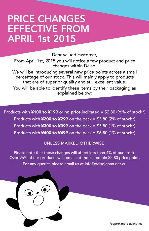 Meep Daiso's price change from 1 April~ http://t.co/FlqKGHyfig