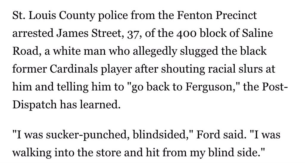 """WTF America?!!? """"@deray: Former Cardinals player punched at gas station after racial slur http://t.co/AYkd3FhUBl http://t.co/vbOp8Cs0rq"""""""