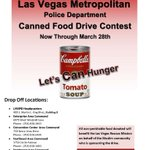 RT @LVMPD: Help us reach our goal in a canned food drive contest for the @LVRescueMission. #letscanhunger #LVMPD http://t.co/Vhl0RRagu4
