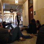 #DivestUMW member @SarahEKinzer explaining our sit in to interested students #whoseside #divestumw #divestva http://t.co/vPWE1lh1hF