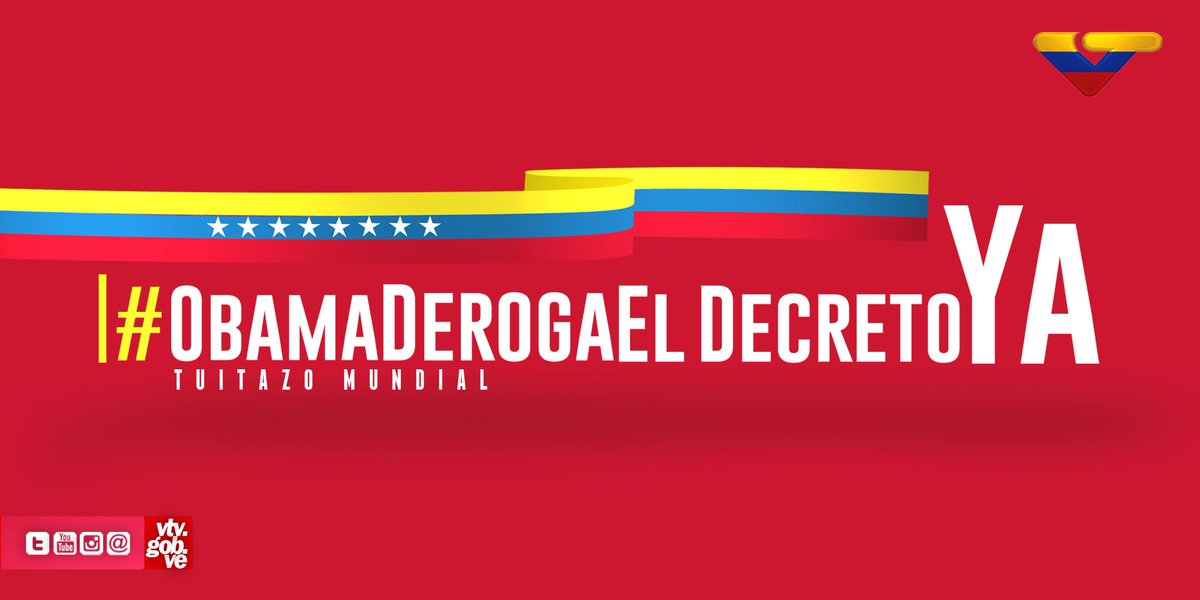VTV CANAL 8 (@VTVcanal8): Arrancó el gran tuitazo mundial #ObamaDerogaElDecretoYa #VenezuelaEsEsperanza http://t.co/LgbjLKC0Lb