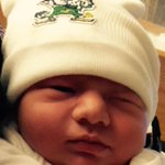 Meet Elijah Jacob Hester of Coloma. His parents tell us he was born a few weeks early to watch tonights @ndmbb game! http://t.co/WPbUZ9zf5B