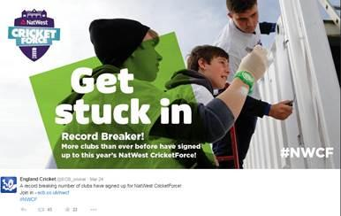 It's a record breaker! 2276 clubs signed up to NatWest CricketForce in 2015 ...good luck to all involved this weekend http://t.co/XE8Ztmgr0U