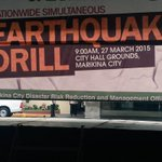 Preps are ongoing at the Marikina City Hall Grounds for the nationwide simultaneous earthquake drill! #OplanPagyanig http://t.co/aeGcFRFK8v