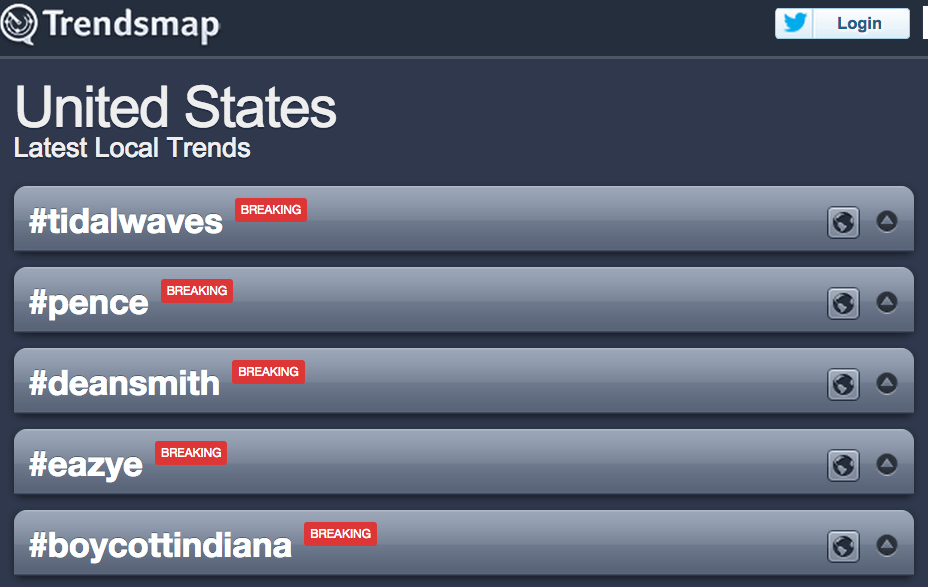 Both #pence & #BoycottIndiana are among the Top 5 trends right now in the U.S., says @Trendsmap. http://t.co/Ew9IG91FdJ