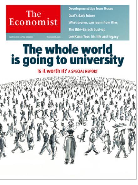 "El próximo número del The Economist pinta bien. ""The whole world is going to university"". /cc @JMGarilleti http://t.co/8nYYTo2O7i"