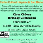 Join us tomorrow at Centro Cultural Hispanos César Chávez Birthday Celebration tomorrow night at 6! ???? #SMTX http://t.co/ZIDurm4zsX