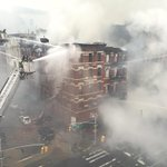 Force of the @FDNY tower ladders tearing away bricks from the remaining facade. @nypmetro http://t.co/fdx4yx6h1E