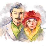 余市の冬景色の中の二人を描きました。 #マッサン #マッサン絵展示用 http://t.co/QRVb6TDCub