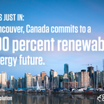 #Vancouver commits to a 100% renewable energy future. RT if you're ready for an #EnergyRevolution! @cleanenergycan http://t.co/UbW2LuJASk