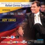 Hoy, 19h45. El Presidente @MashiRafael participará de entrevista desde #Cotopaxi ¡No se lo pierda! #DiálogoPresidente http://t.co/s2hvB91euj