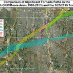 Significant tornado paths in south OKC and Moore 1998 - 2015 #okwx http://t.co/IhAWao3Gdm