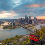 A classic scene in @DowntownPitt with a gorgeous #sunrise and iconic @DuquesneIncline #Pittsburgh http://t.co/aj7i0uTdtn