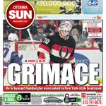 SUN FRONT: GRIMACE is the word after #Sens fans finally learn the #Hamburglar is human! #ottnews #nhl #rangers http://t.co/VyPSOqTEgG