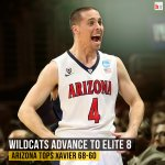 Arizona is heading to the #Elite8! They get by Xavier 68-60 and will now face Wisconsin! #MarchMadness http://t.co/L2e29qo37u