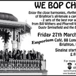 Tonight We Bop Choir £free from 8pm join us for something different on a Friday! #Brighton #culturematters #Choir http://t.co/9xkVOtuLkJ