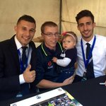#MVFCs @KostaBarb7 & @jordybrown_ at the @LeasePlanAU Carn the Kids marquee. 200 kids here tonight #MVCvCCM http://t.co/6cxYPuv3jU