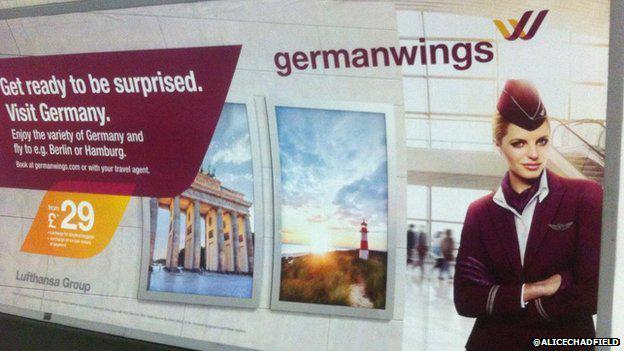 """Adverts for Germanwings with slogan """"get ready to be surprised"""" are removed from the Tube http://t.co/gR3vWmEGFp http://t.co/Ukl9hqK4NF"""