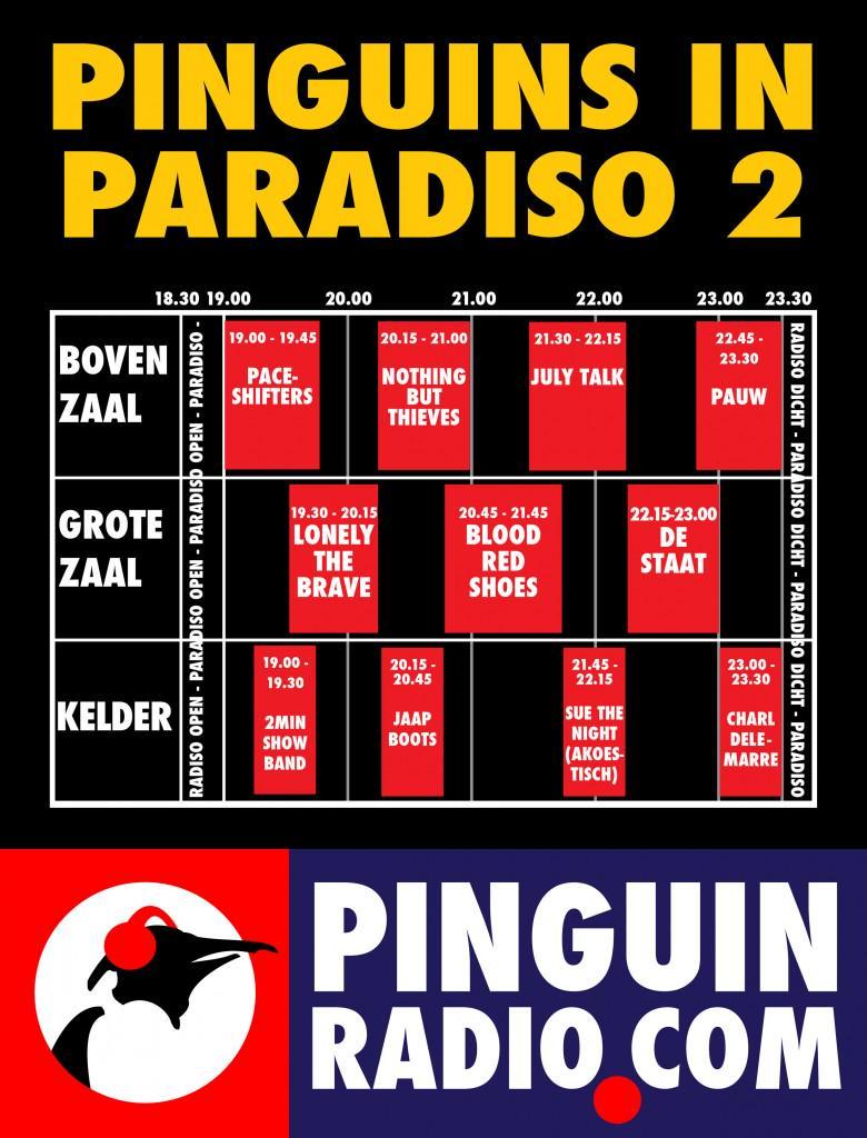 Het blokkenschema voor Pinguins in @ParadisoAdam zaterdag 4 april! Koop snel je tickets via http://t.co/Ufx7KCAmgZ! http://t.co/0GfJB8YSSq