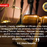All gov officials mentioned in graft report to step aside President Uhuru #SOTN #TransformingKE @StateHouseKenya http://t.co/tSEJ5kON4s