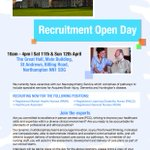 Recruitment Open Day 11th / 12th April 10am-4pm St Andrews Healthcare in Northampton. Vacancies for RMN / RNLD / RGN http://t.co/RM2Ail0q6b