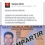 #chilebusca Juan Carlos Navea Araya se encuentra en coma en Antofagasta por favor difunfir @FrenteFantasma http://t.co/yHsipI8yjM