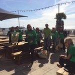 @macmillancancer @mayowynnebaxter doing a great job of their beach clean. Well deserved coffee break #Brighton http://t.co/xhE88G81z2