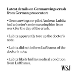 Germanwings co-pilot Andreas Lubitz apparently tore up a doctor's note excusing him from work http://t.co/LKBz2hvetK http://t.co/VTiar67tQE