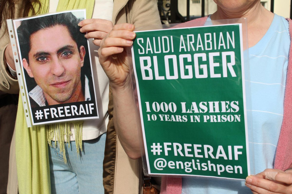 Good to see my 'reductive' #FreeRaif poster out in the wild @SaudiEmbassyUK @raif_badawi http://t.co/dU9Yc6lyeq