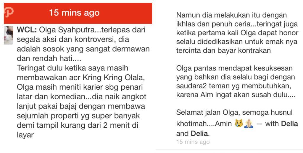 Alfatihah untuk Olga Syahputra. @widyacatlady menulis tentang almarhum :( http://t.co/hx4z0NXdpm