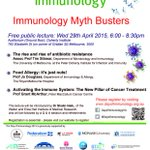 "Registration to #DoImmuno #Melbourne public lecture ""#Immunology myth busters"" is now open. http://t.co/QvdEN1nEy3 http://t.co/l2zCP1gPcJ"