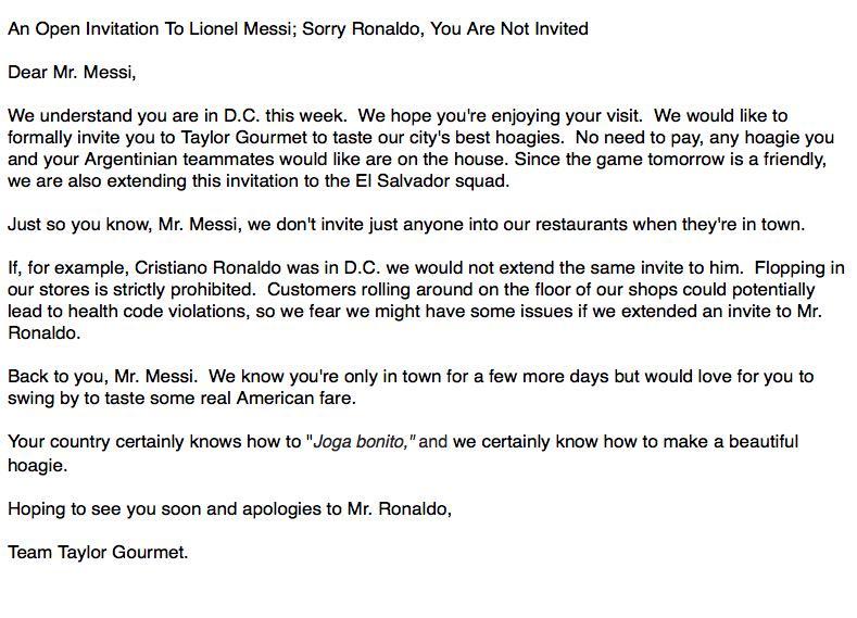 OPEN INVITATION TO #LionelMessi @Argentina & @La_Selecta!!   cc @SoccerInsider @dcsportsbog @Deadspin #DC http://t.co/tM1Cj0mQVe